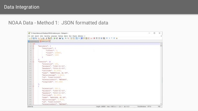 data integration noaa data method 1 json formatted data