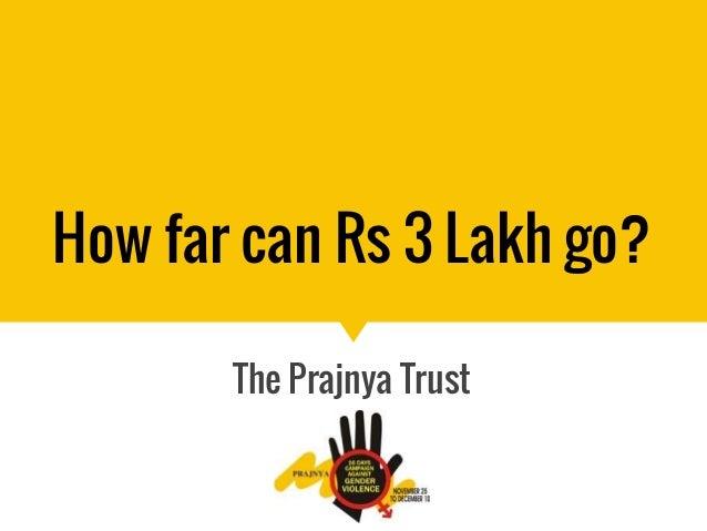 How far can Rs 3 Lakh go? The Prajnya Trust
