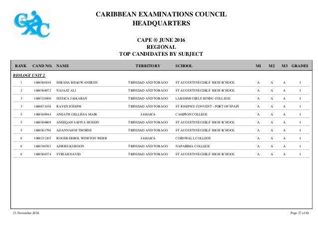 2016 cape regional merit list by subject - St joseph convent port of spain trinidad ...