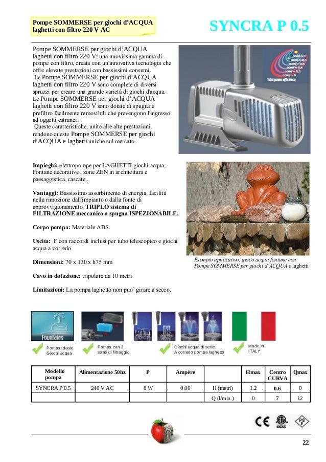 2016 catalogo tecnico pompe for Pompe per laghetti esterni