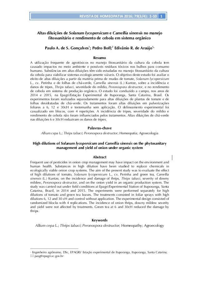 REVISTA  DE  HOMEOPATIA  2016;  79(3/4):    1-‐10   1         Altas diluições de Solanum lycopersicum...