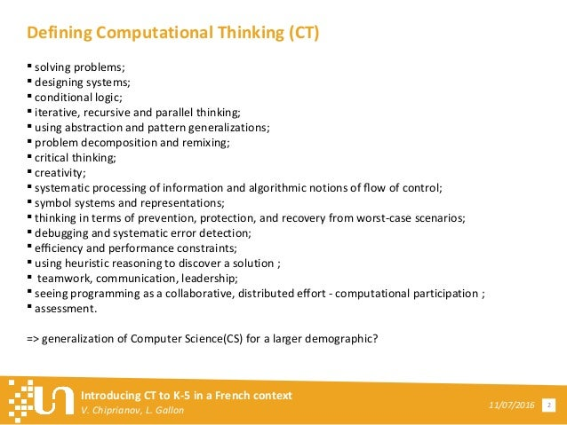 Introducing Computational Thinking to K-5 in a French Context Slide 2