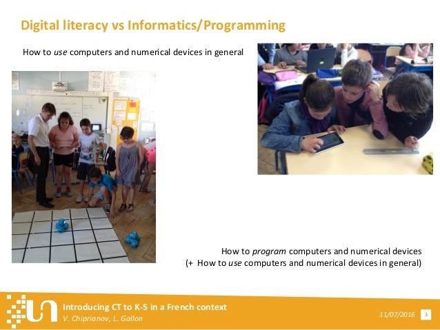 Introducing Computational Thinking to K-5 in a French Context Slide 3