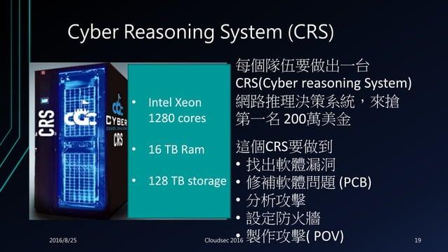 Cyber Reasoning System (CRS) 每個隊伍要做出一台 CRS(Cyber reasoning System) 網路推理決策系統,來搶 第一名 200萬美金 這個CRS要做到 • 找出軟體漏洞 • 修補軟體問題 (PCB)...