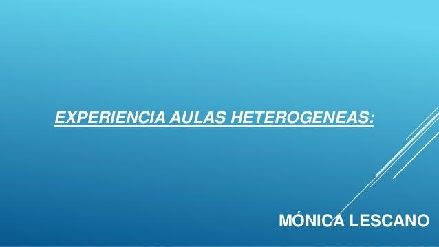 EXPERIENCIA AULAS HETEROGENEAS: MÓNICA LESCANO
