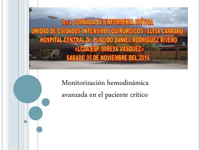 Monitorización hemodinámica avanzada en el paciente crítico