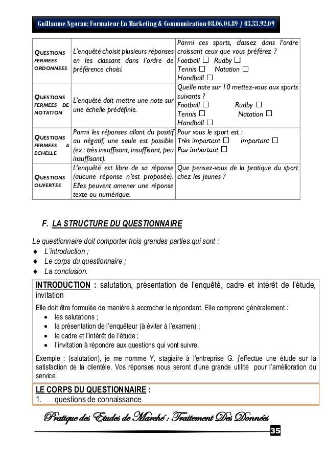 Exemple De Questionnaire Détude De Marché - Le Meilleur ...