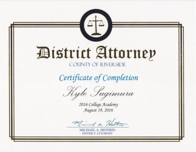 College Academy Certificate – Kyle Sugimura