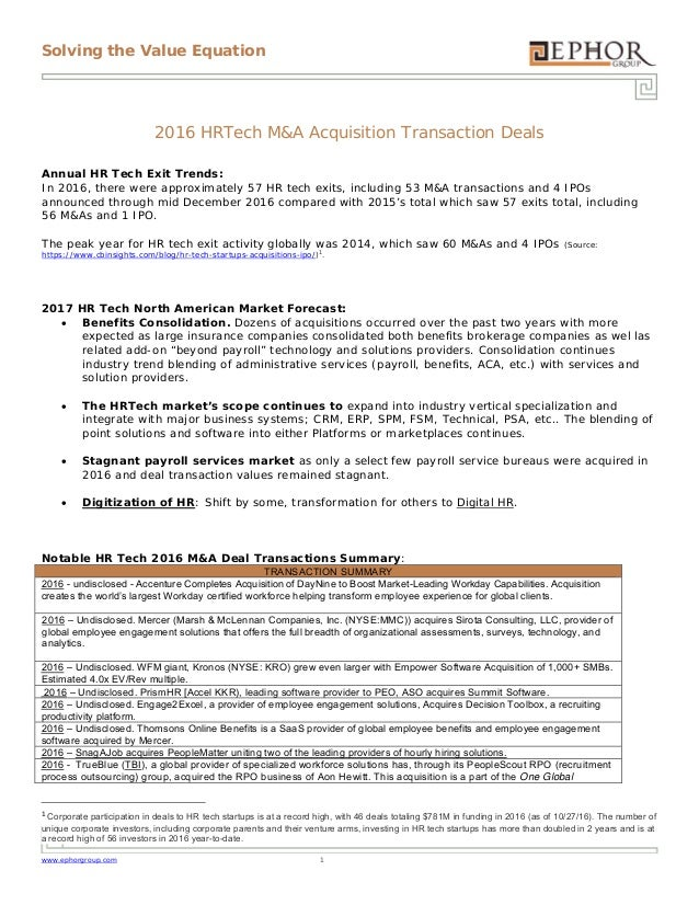 Solving the Value Equation www.ephorgroup.com 1 2016 HRTech M&A Acquisition Transaction Deals Annual HR Tech Exit Trends: ...