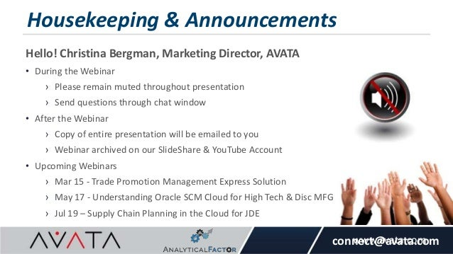 AVATA Webinar: Demantra Engine Tuning