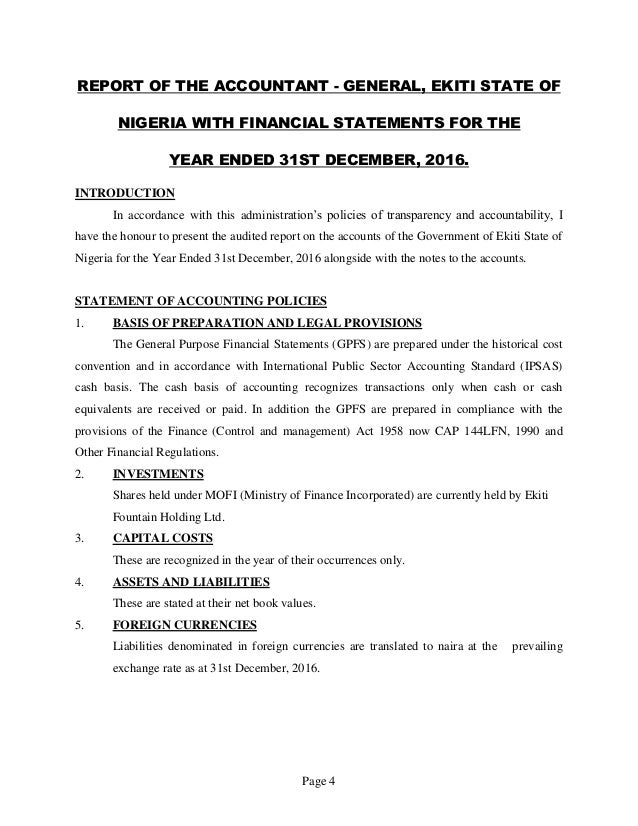 Page 4 REPORT OF THE ACCOUNTANT - GENERAL, EKITI STATE OF NIGERIA WITH FINANCIAL STATEMENTS FOR THE YEAR ENDED 31ST DECEMB...
