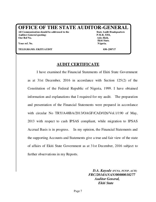 Page 7 OFFICE OF THE STATE AUDITOR-GENERAL All Communication should be addressed to the State Audit Headquarters Auditor-G...
