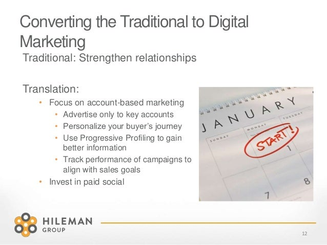 Converting the Traditional to Digital Marketing Traditional: Strengthen relationships Translation: • Focus on account-base...