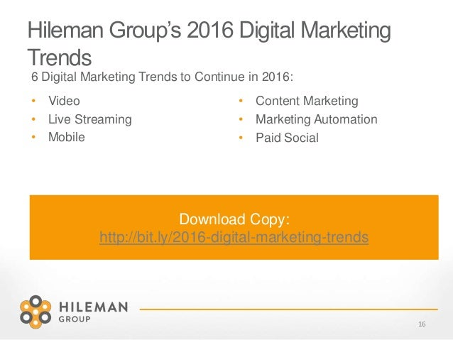 Hileman Group's 2016 Digital Marketing Trends 6 Digital Marketing Trends to Continue in 2016: 16 • Content Marketing • Mar...
