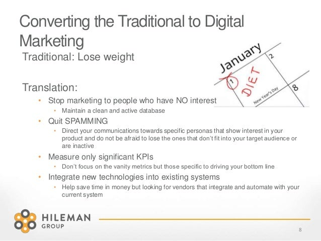 Converting the Traditional to Digital Marketing Traditional: Lose weight Translation: • Stop marketing to people who have ...