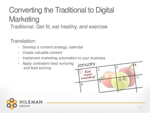 Converting the Traditional to Digital Marketing Traditional: Get fit, eat healthy, and exercise Translation: • Develop a c...