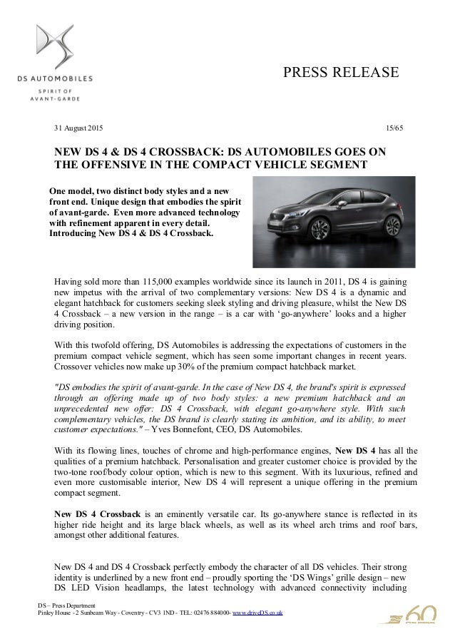 2016 Ds 4 And Ds 4 Crossback Press Release