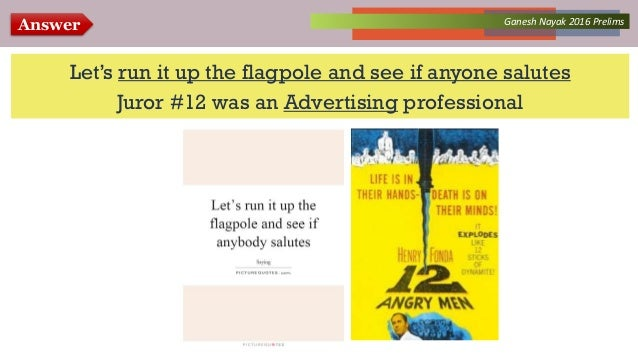 Answer Collected Works – asKQAnce 2014Ganesh Nayak 2016 Prelims Let's run it up the flagpole and see if anyone salutes Jur...