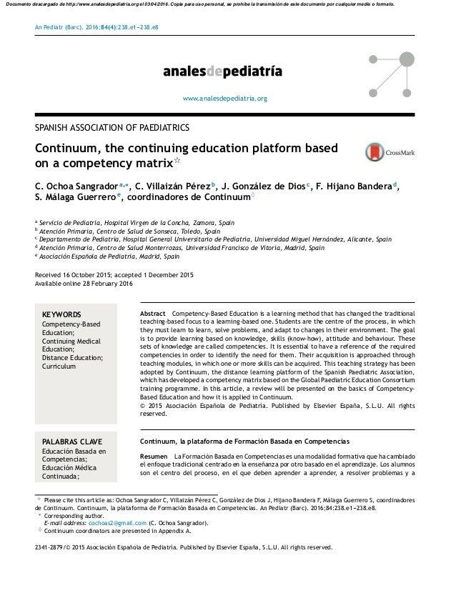 An Pediatr (Barc). 2016;84(4):238.e1---238.e8 www.analesdepediatria.org SPANISH ASSOCIATION OF PAEDIATRICS Continuum, the ...
