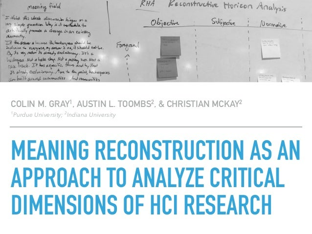 MEANING RECONSTRUCTION AS AN APPROACH TO ANALYZE CRITICAL DIMENSIONS OF HCI RESEARCH COLIN M. GRAY1, AUSTIN L. TOOMBS2, & ...