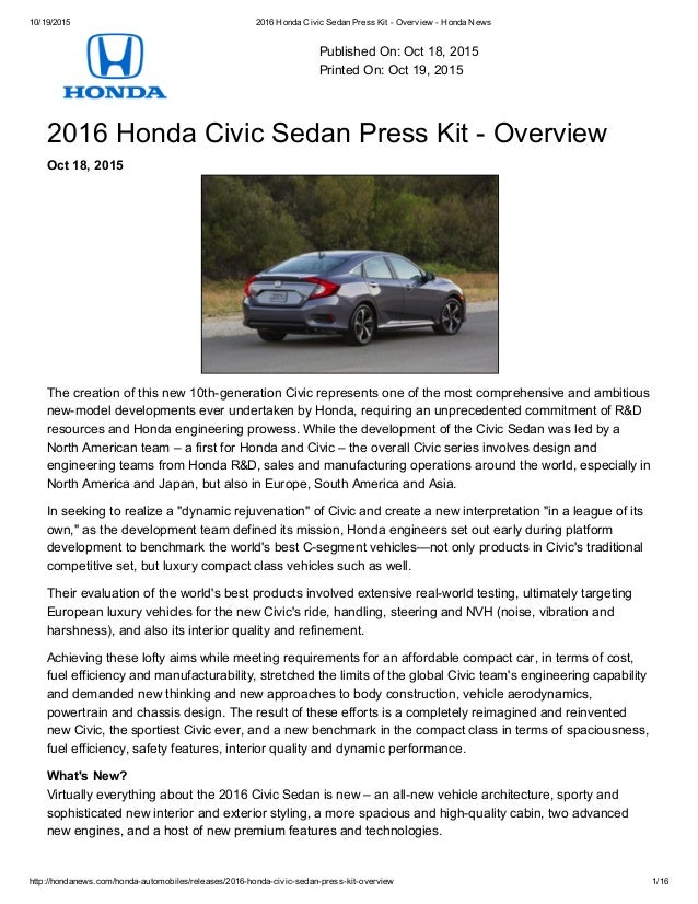 10 19 2015 2016 Honda Civic Sedan Press Kit Overview News