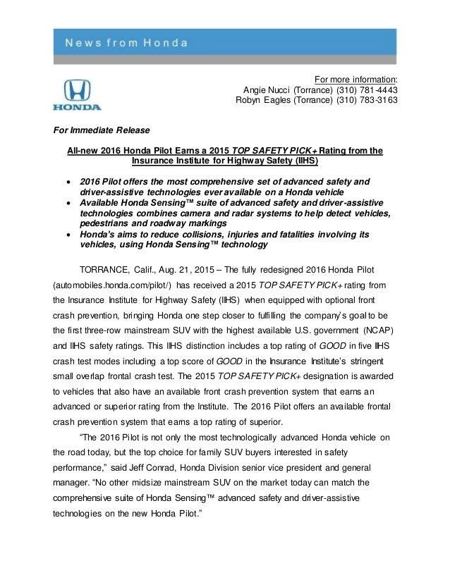2016 honda pilot iihs safety rating press release. Black Bedroom Furniture Sets. Home Design Ideas