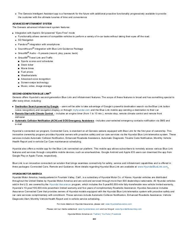 2016 hyundai genesis press release