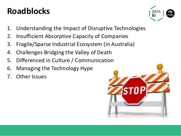 Roadblocks 1. Understanding the Impact of Disruptive Technologies 2. Insufficient Absorptive Capacity of Companies 3. Frag...