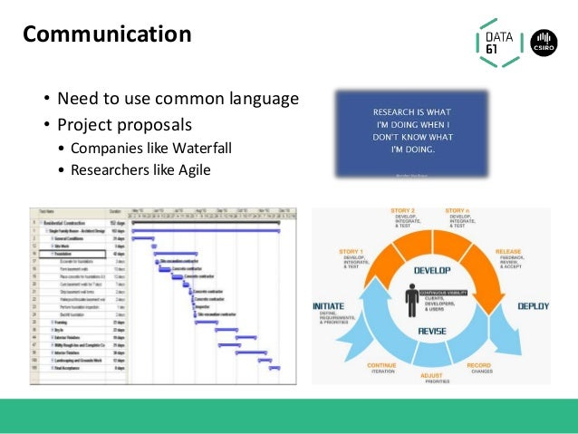 • Need to use common language • Project proposals • Companies like Waterfall • Researchers like Agile Communication