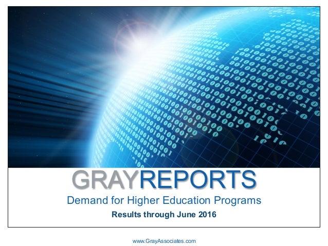 GRAYREPORTS Demand for Higher Education Programs www.GrayAssociates.com Results through June 2016