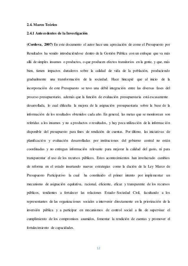 12 2.4. Marco Teórico 2.4.1 Antecedentes de la Investigación (Cordova, 2007) En este documento el autor hace una apreciaci...
