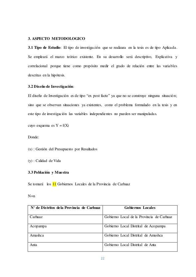 22 3. ASPECTO METODOLOGICO 3.1 Tipo de Estudio: El tipo de investigación que se realizara en la tesis es de tipo Aplicada....