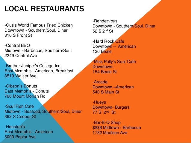 LOCAL RESTAURANTS -Gus's World Famous Fried Chicken Downtown - Southern/Soul, Diner 310 S Front St -Central BBQ Midtown - ...