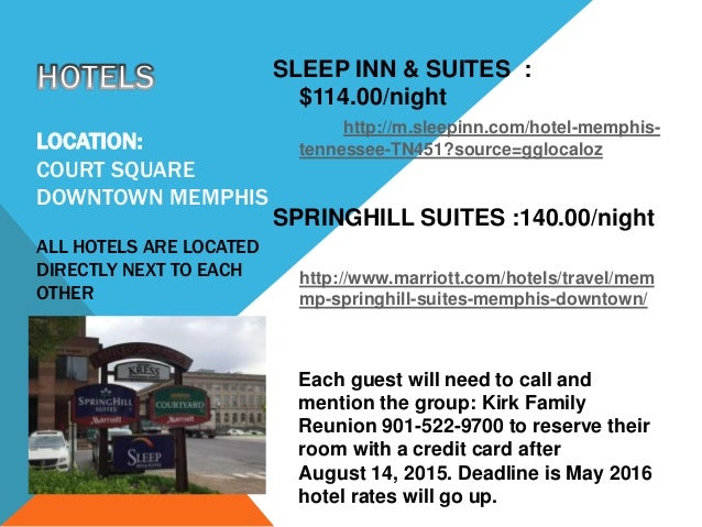 LOCATION: COURT SQUARE DOWNTOWN MEMPHIS ALL HOTELS ARE LOCATED DIRECTLY NEXT TO EACH OTHER SLEEP INN & SUITES : $114.00/ni...