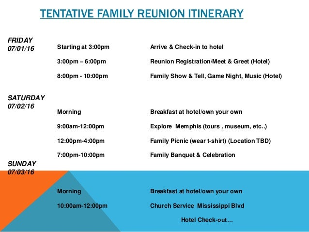 TENTATIVE FAMILY REUNION ITINERARY Starting at 3:00pm Arrive & Check-in to hotel 3:00pm – 6:00pm Reunion Registration/Meet...