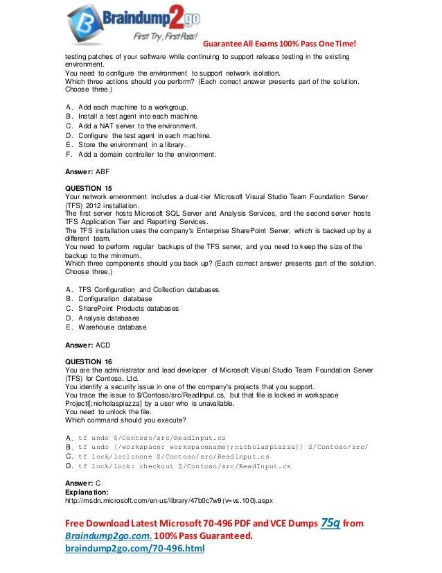 2016 Latest Microsoft 70-496 Exam Questions PDF 89q Shared