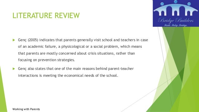 parent involvement literature review Research report dfe-rr156 review of best practice in parental engagement janet goodall and john vorhaus with the help of jon carpentieri, greg brooks.