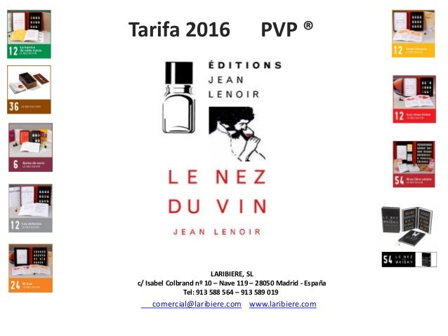 2016 Le Nez Du Vin Catalogo Tarifa Pvp