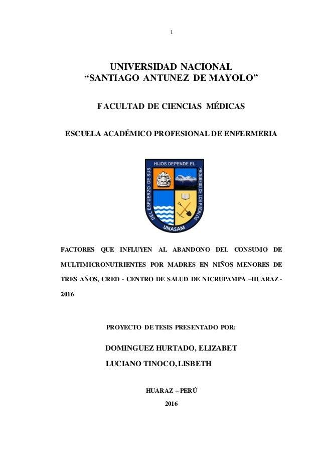 """1 UNIVERSIDAD NACIONAL """"SANTIAGO ANTUNEZ DE MAYOLO"""" FACULTAD DE CIENCIAS MÉDICAS ESCUELA ACADÉMICO PROFESIONAL DE ENFERMER..."""