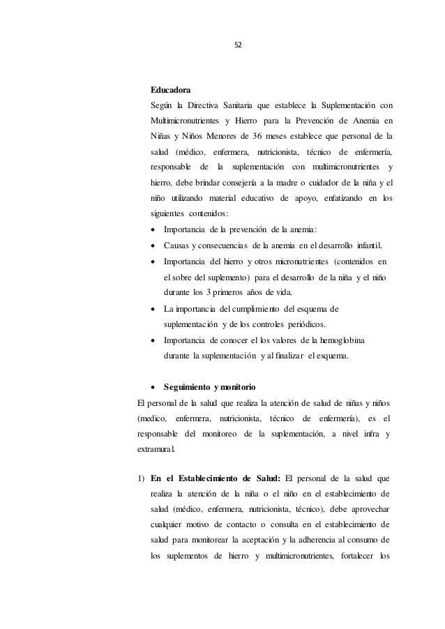 52 Educadora Según la Directiva Sanitaria que establece la Suplementación con Multimicronutrientes y Hierro para la Preven...