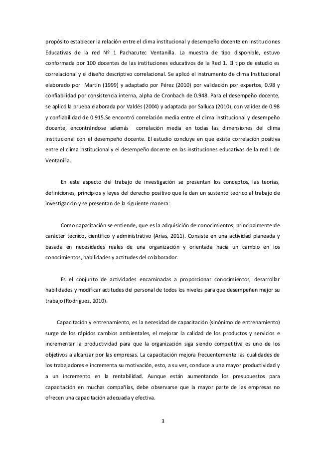 propósito establecer la relación entre el clima institucional y desempeño docente en Instituciones Educativas de la red Nº...