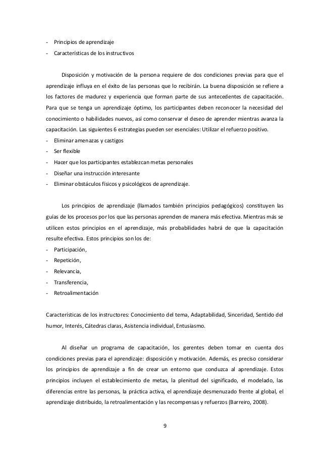 - Principios de aprendizaje - Características de los instructivos Disposición y motivación de la persona requiere de dos c...