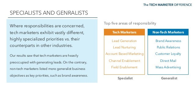 The TECH MARKETER DIFFERENCE SPECIALISTS AND GENRALISTS The TECH MARKETER DIFFERENCE Where responsibilities are concerned,...