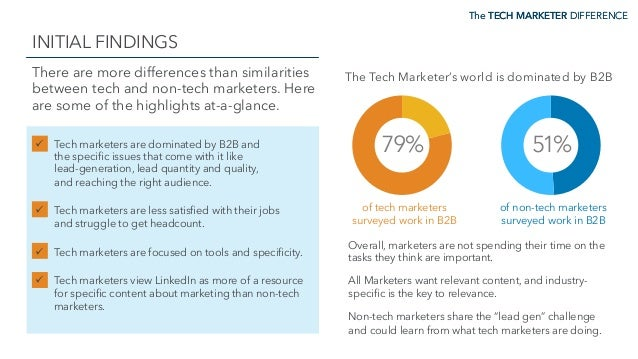 The TECH MARKETER DIFFERENCE INITIAL FINDINGS The TECH MARKETER DIFFERENCE There are more differences than similarities be...