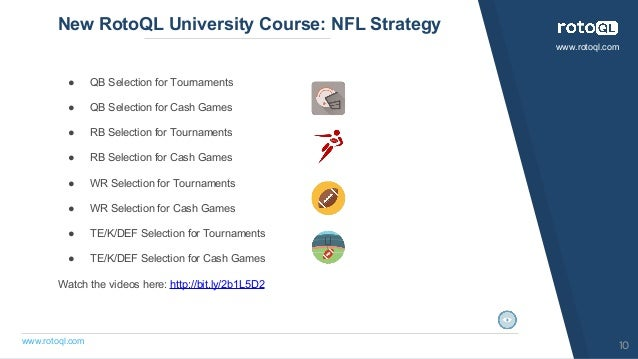 ● QB Selection for Tournaments ● QB Selection for Cash Games ● RB Selection for Tournaments ● RB Selection for Cash Games ...