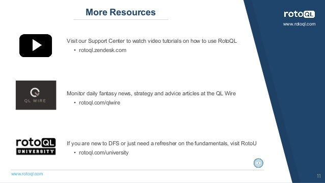 www.rotoql.com www.rotoql.com More Resources Visit our Support Center to watch video tutorials on how to use RotoQL • roto...