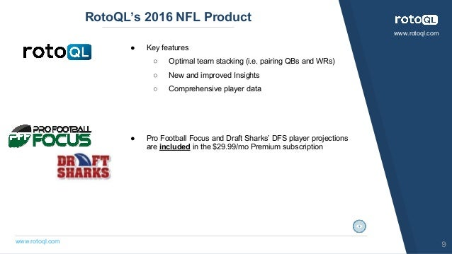 www.rotoql.com www.rotoql.com RotoQL's 2016 NFL Product 9 ● Key features ○ Optimal team stacking (i.e. pairing QBs and WRs...