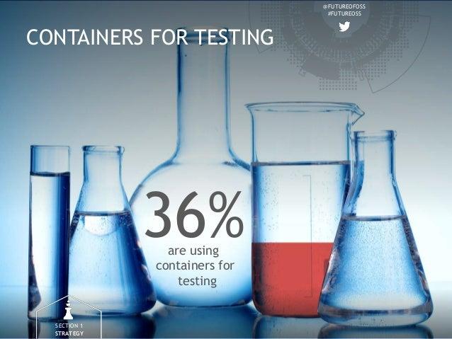@FUTUREOFOSS #FUTUREOSS CONTAINERS FOR TESTING 36%are using containers for testing SECTION 1 STRATEGY