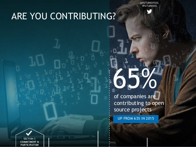 @FUTUREOFOSS #FUTUREOSS ARE YOU CONTRIBUTING? SECTION 3 COMMITMENT & PARTICIPATION 65%of companies are contributing to ope...