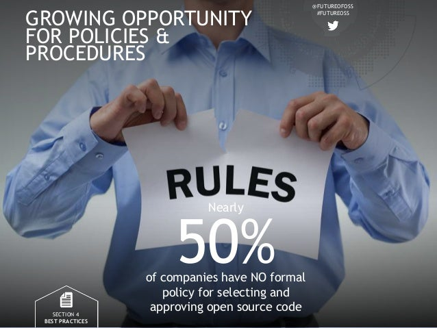 @FUTUREOFOSS #FUTUREOSS GROWING OPPORTUNITY FOR POLICIES & PROCEDURES SECTION 4 BEST PRACTICES 50%of companies have NO for...